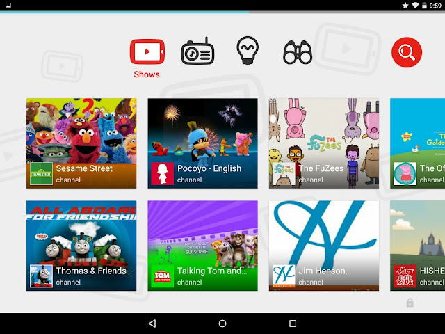 A screenshot of the YouTube Kids app