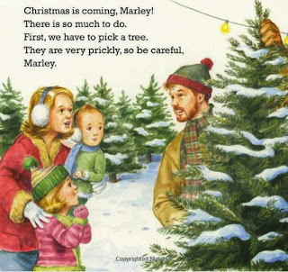 sample page #1 from CHRISTMAS IS COMING, MARLEY (Board Book) by John Grogan