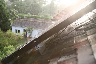Rain falling on our solar panels