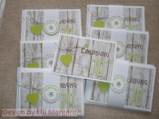 Ellis Eventkarten: Einladungs , Menü  Und Tischkarten Zum 70, Einladungs