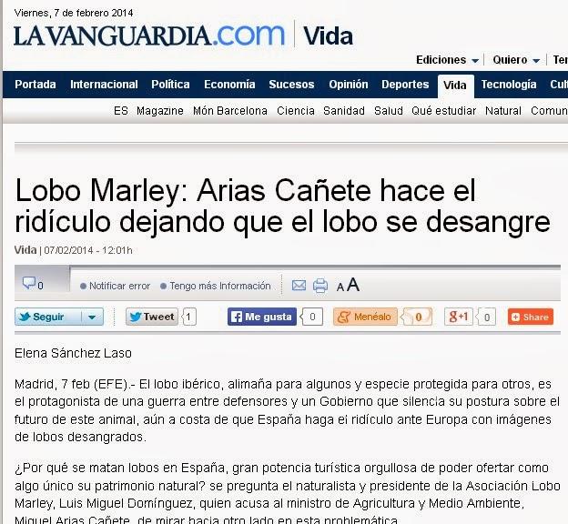 http://www.lavanguardia.com/vida/20140207/54400932257/lobo-marley-arias-canete-hace-el-ridiculo-dejando-que-el-lobo-se-desangre.html