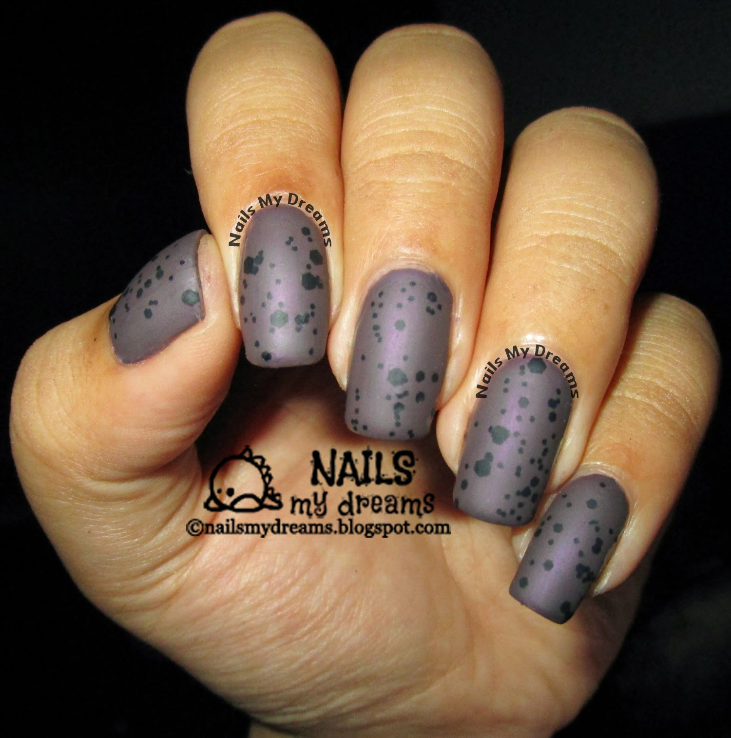 dark purple nail art speckles