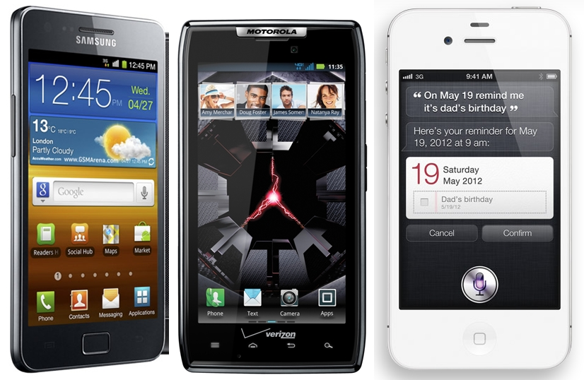 Motorola DROID RAZR vs iPhone 4S vs Samsung Galaxy S2 comparison
