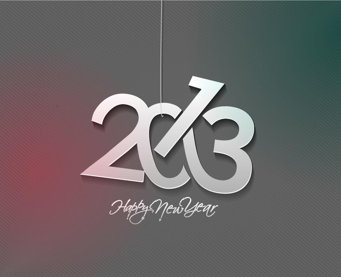 モダンな新年のタイポグラフィ modern 2013 New Year trendy typography イラスト素材4