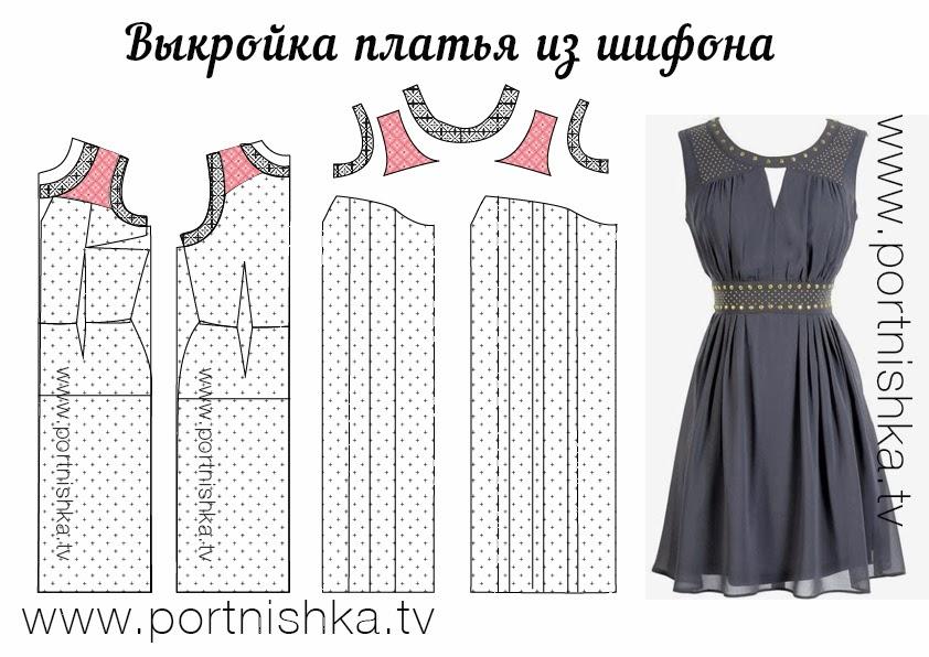 Моделирование и выкройка платья из шифона