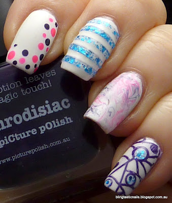 Blog Fest 2013 Picture Polish Aphrodisiac, Splash and Hot Lips Nail Art Manicure
