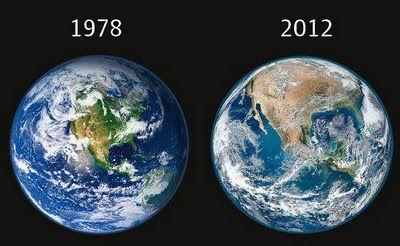 """""""De bosques a desertos em apenas 34 anos."""" A nasa divulgou no dia 25 de Janeiro/2012 a foto mais re"""