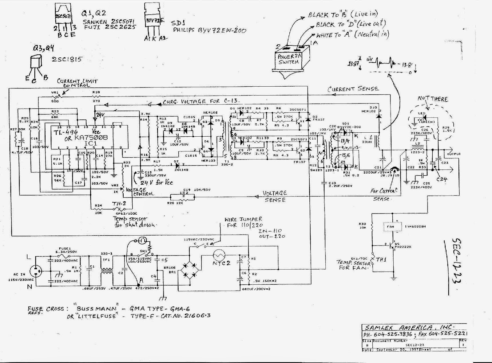 SAMLEX SEC1223 Power Supply Schematic. | HAMRADIOAL