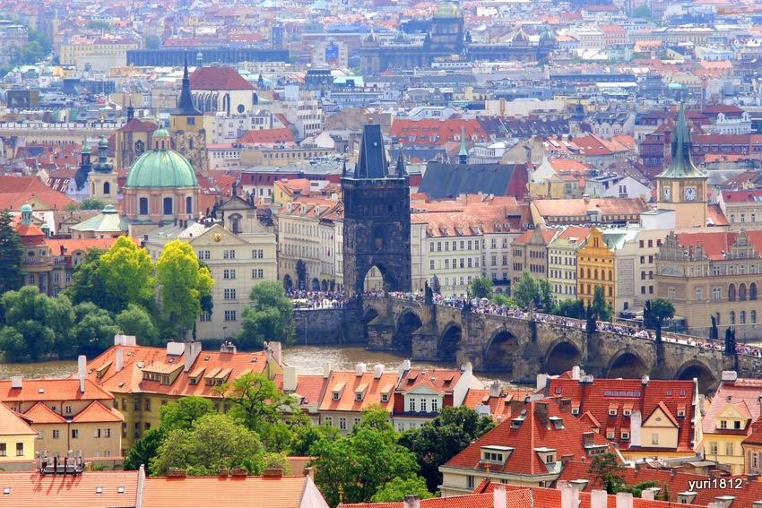 Вид на Карлов мост и Староместскую башню.