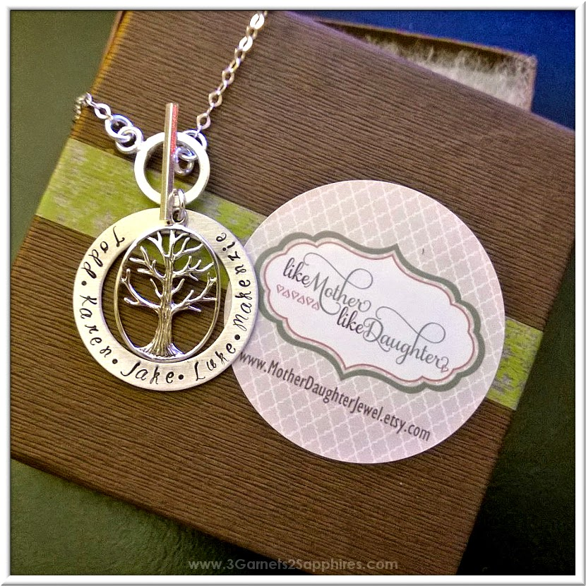 Custom hand stamped sterling silver toggle necklace from Like Mother Like Daughter  |  www.3Garnets2Sapphires.com