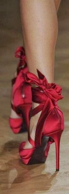 Fashionable red high heel shoes