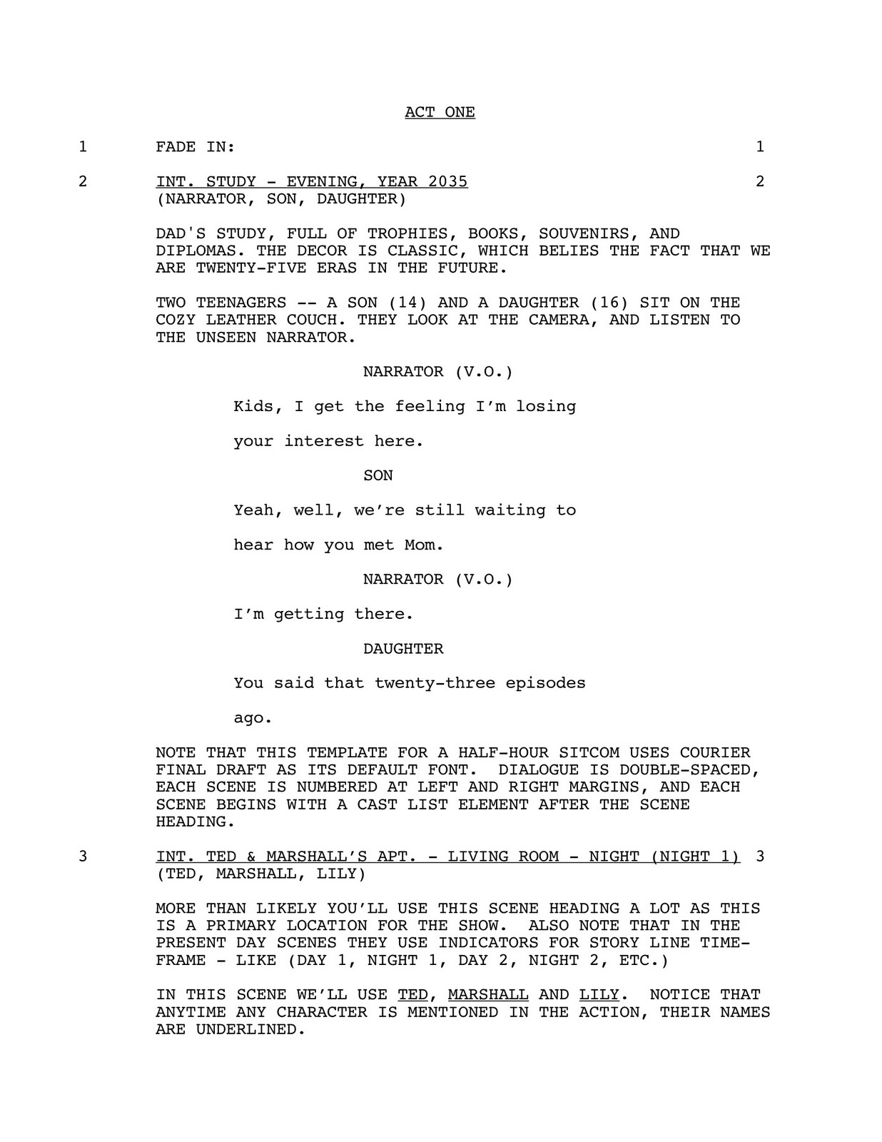 film script writing format