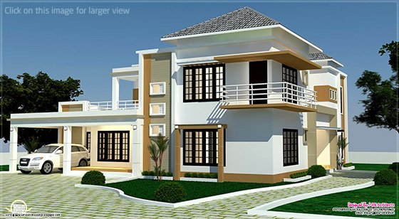 4 BHK villa right side elevation