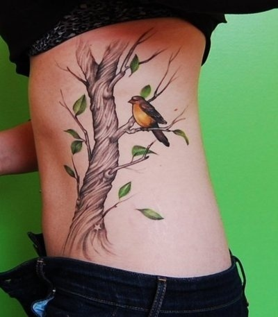 corlfull bird and tree female tattoofemale tattoos gallery