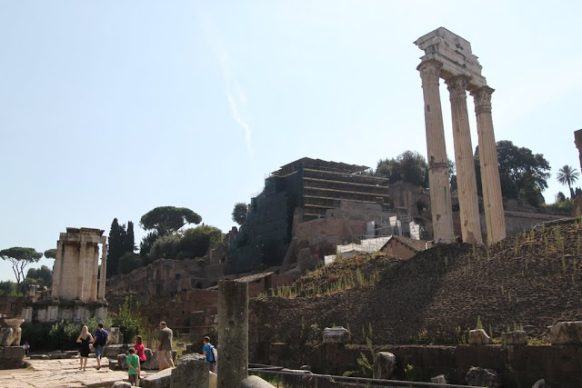 Temple of Vesta and Temple of Castor & Pollux are facing each other at Roman Forum in Rome, Italy