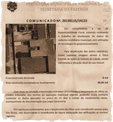 """Reprodução de comunicado emitido pela Prefeitura Municipal de Paulínia, sobre construção sem """"Habite-se""""."""