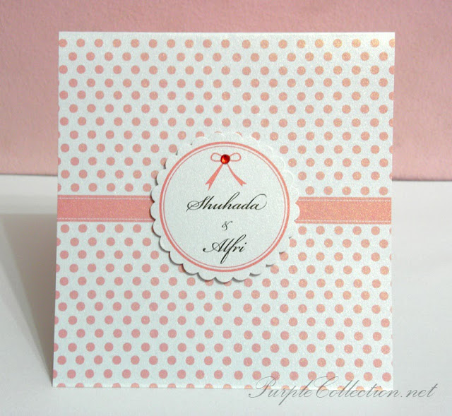 pink polka dots, red rhinestone, round scallop, pearl white card, kad kahwin, malay, wedding card, western, handmade, Kuala Lumpur