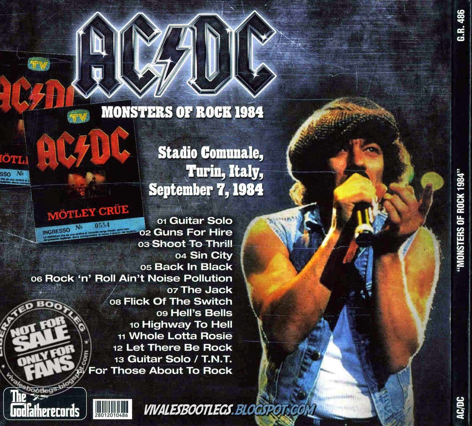 ACDC Monsters of Rock 1984 back cover