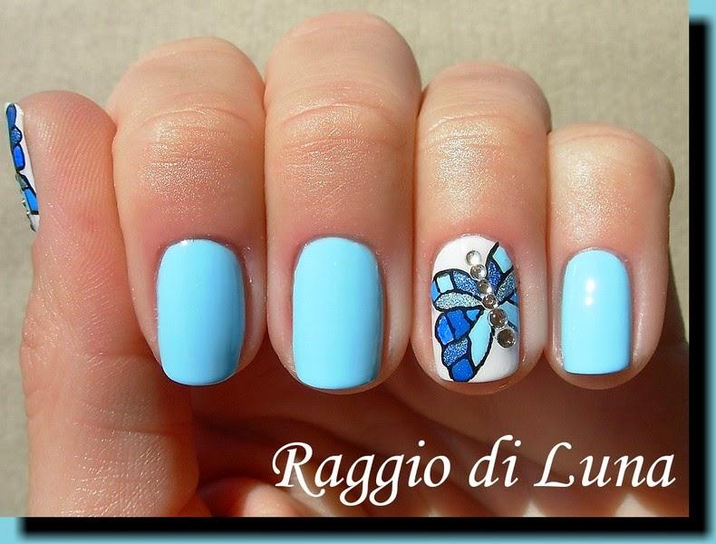 Raggio di Luna Nails: Blue mosaic rhinestone butterfly