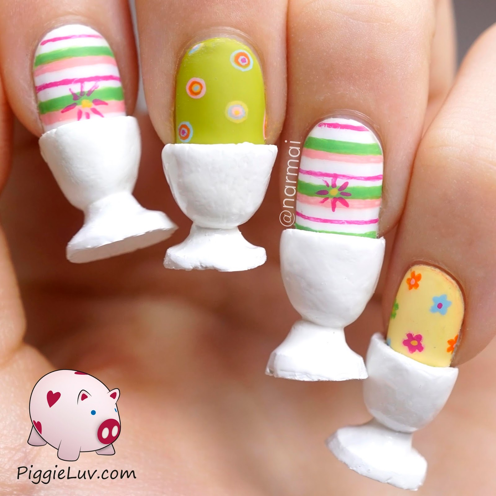 PiggieLuv: Easter eggs for breakfast, crazy 3D nail art