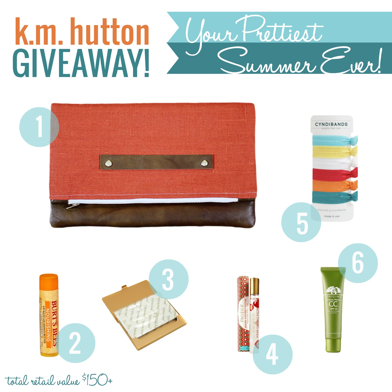 K.M. Hutton Giveaway, summer essentials, Burt's Bee limp balm, fold over clutch