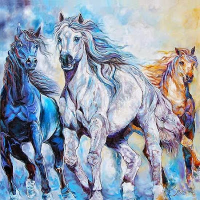 "horses painting, oil on canvas, 48"" x 48"""