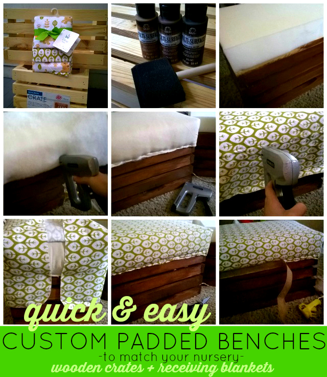 How To Make Custom Nursery Decor Using Receiving Blankets - Quick & Easy DIY Custom Padded Crate Benches #MagicBabyMoments One Savvy Mom onesavvymom blog Disney Baby Walmart