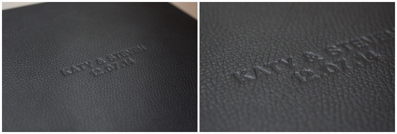Cover embossing on wedding album
