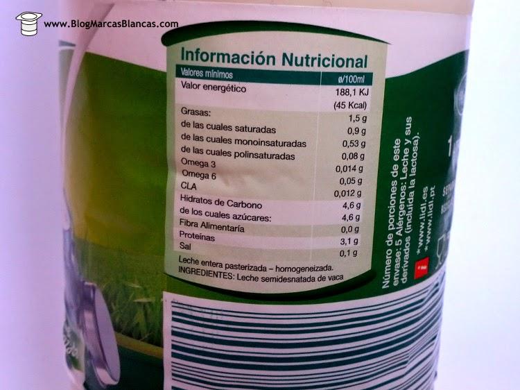 La leche fresca semidesnatada Milbona de Lidl contiene más ácidos grasos saludables que la leche convencional.