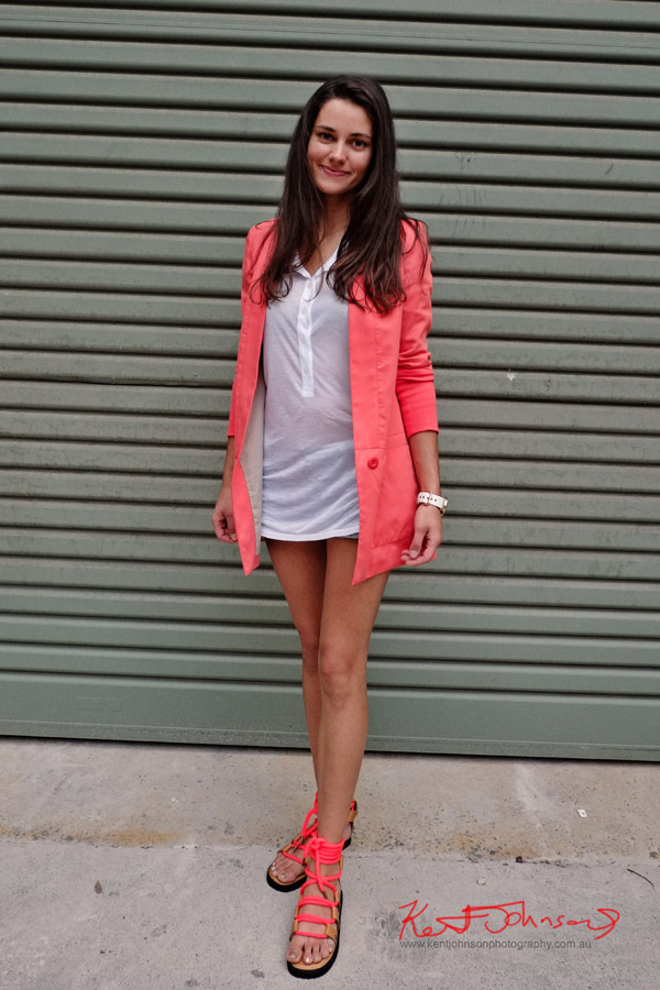 Pastel red jacket and matching rope sandals, white button front tee shirt and matching watch - Street Fashion Sydney