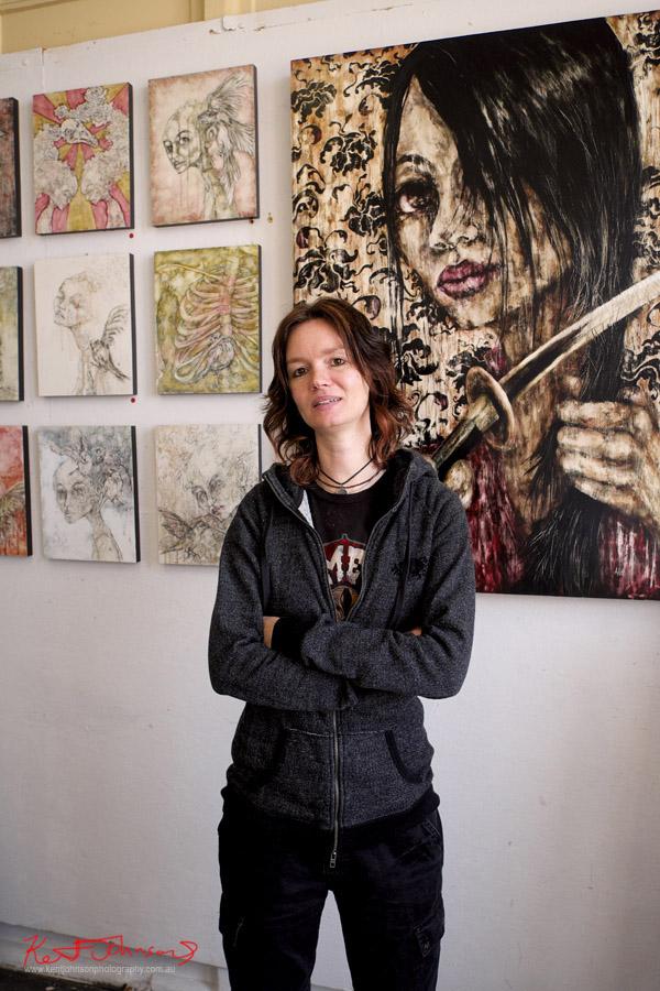 April White Painter & Mixed Media Artist - Artist portrait by Kent Johnson, Lennox St Artists Studios, Newtown Sydney Australia.