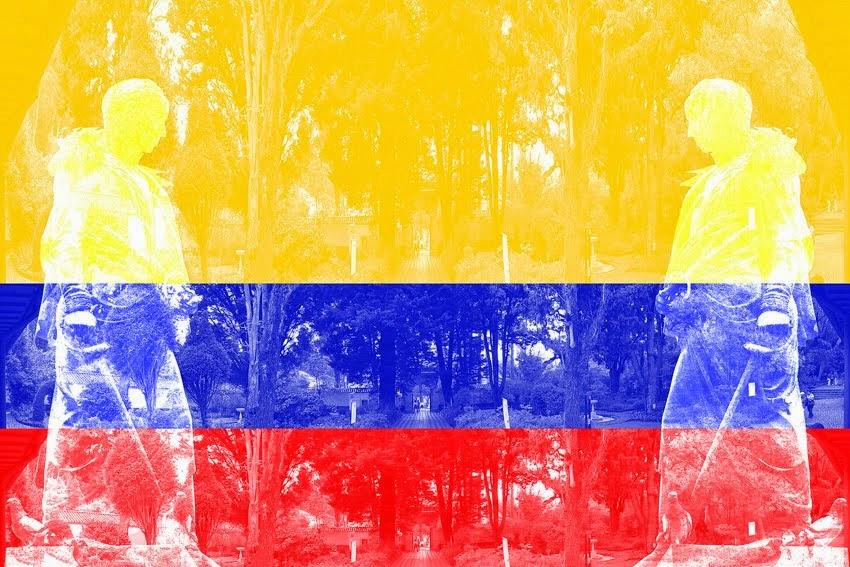 Bandera colombiana. Bogotá DC, Quinta de Bolívar       Colombian flag. Bogotá CD, Bolívar Villa