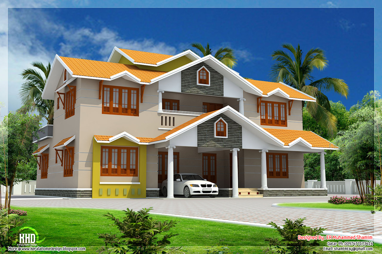 2700 beautiful dream home design kerala home for Beautiful house hd photo