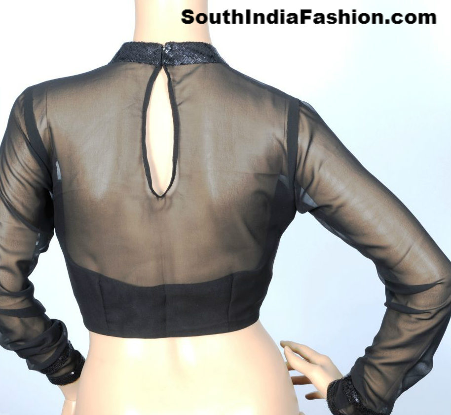 Net Blouse Back Neck Designs 95