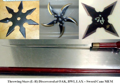 Throwing Stars and Cane Sword