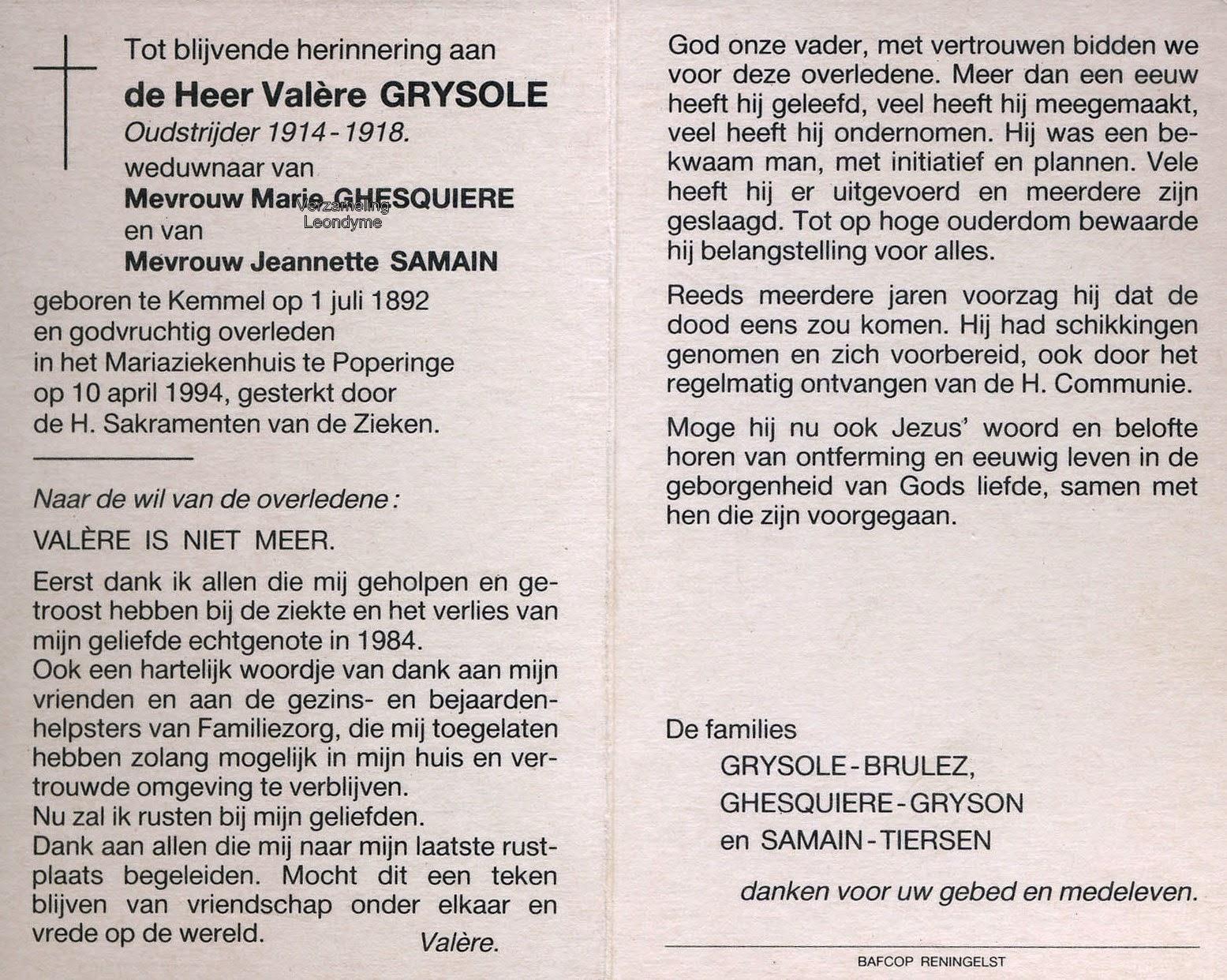 Bidprentje, Valère Grysole 1892-1994. Verzameling Leondyme.
