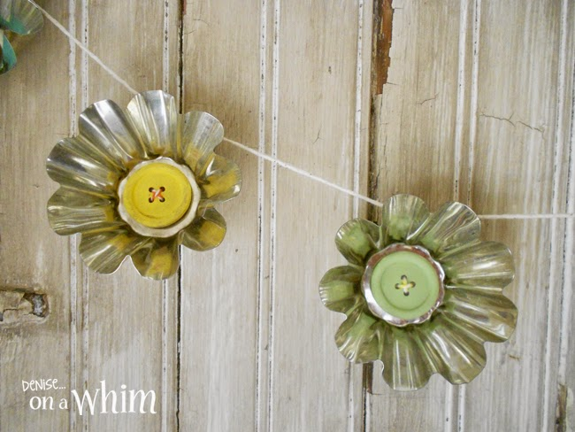 Jello Mold Spring Daisy Garland with Wooden Button Centers | Denise on a Whim
