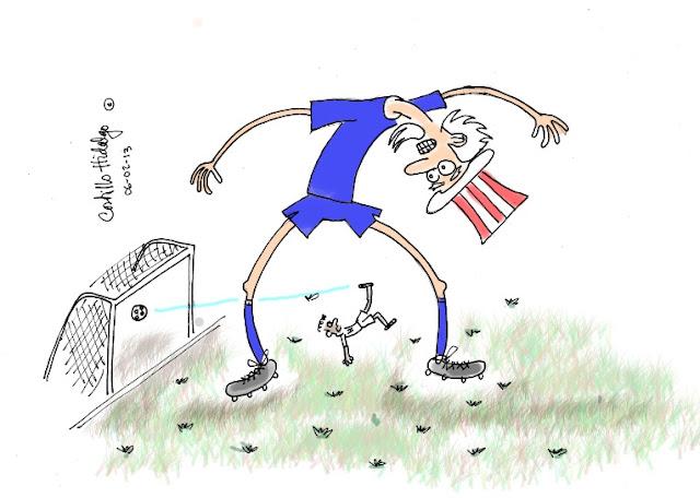 Caricatura de futbo de USA contra Honduras