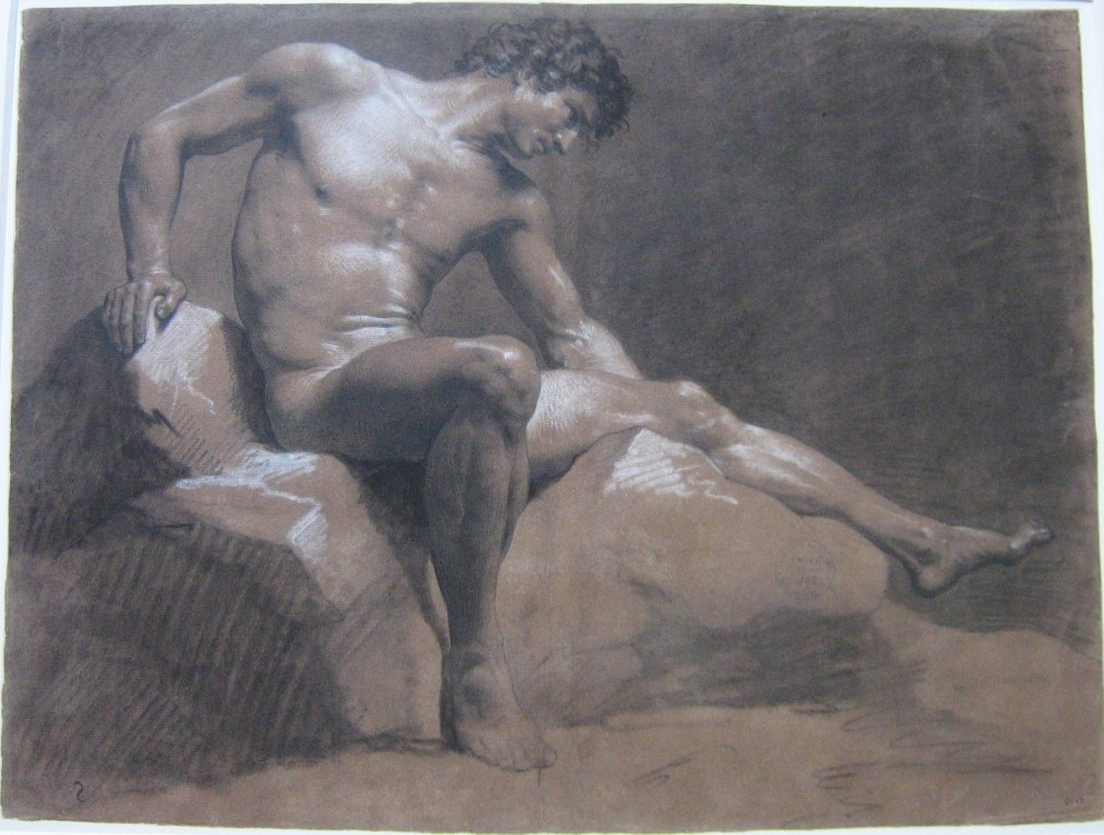 ISABEY-JB-Homme-nu-assis-sur-un-rocher-EBA-2964