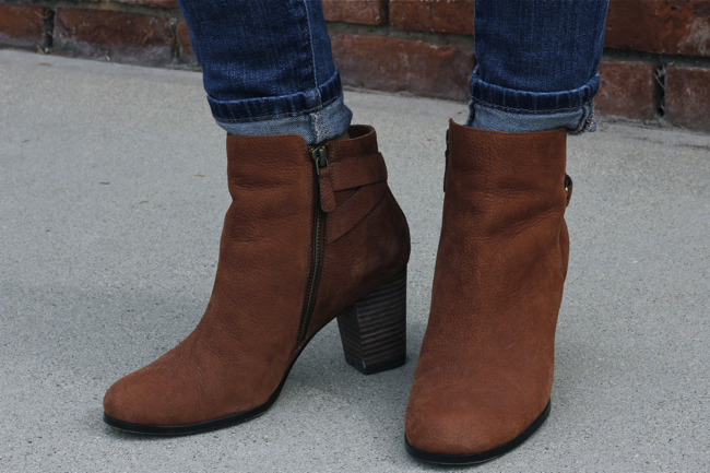 Cole Haan, booties, cuff, jeans, buckle