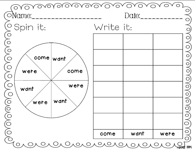Writing Kindergarten: Miss Sight Three and Word is Practice words writing  Here! sight