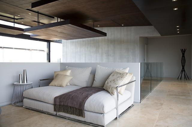 White sofa on the interior bridge