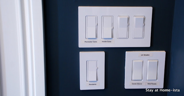 labels on a bank of light switches