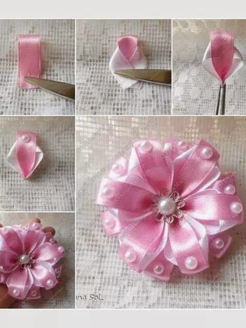 Dinorah Creativa: Tutorial flor en liston....