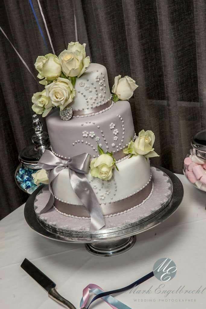 Delana\'s Cakes: Silver / Grey and white wedding cake