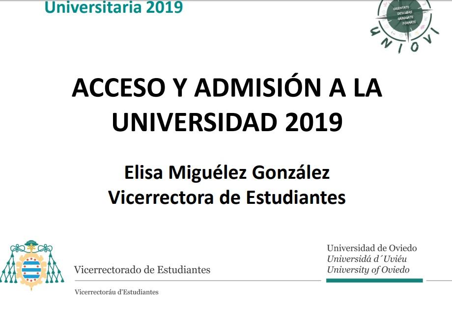 Acceso y Admisión a la Universidad de Oviedo en 2019