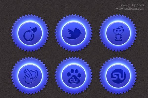 Blue Color Social Icon Set PSD