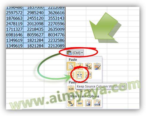 Gambar: Copy tabel dengan lebar kolom melalui Paste  Options