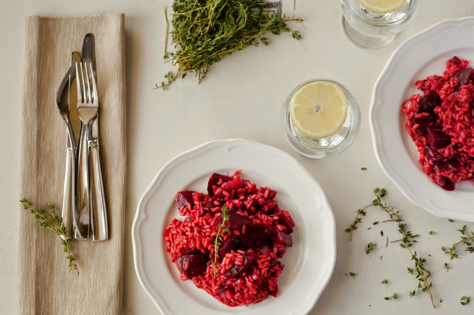 Beetroot, lemon and thyme risotto - Little Miss Meat-Free