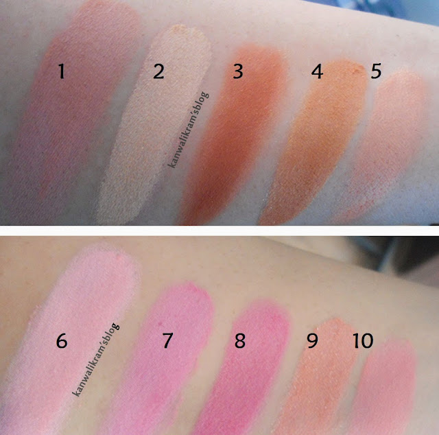 Atiqa Odho Blush Pallet Swatches